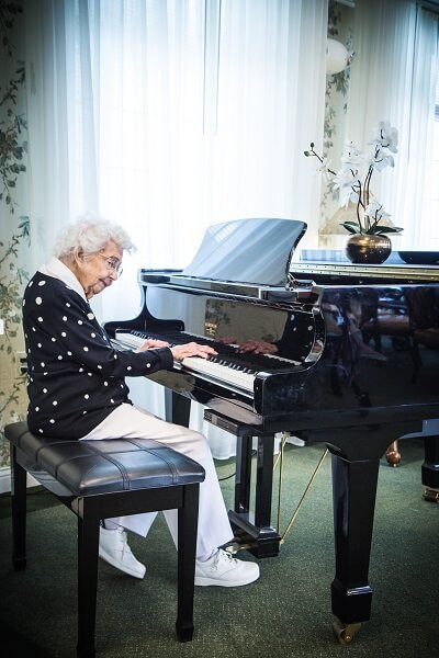 Tenant playing the piano